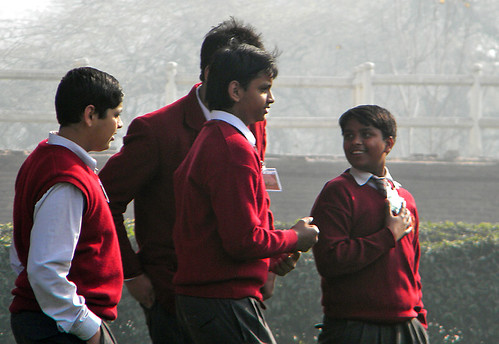 Schoolboys at the Red Fort in Delhi, India