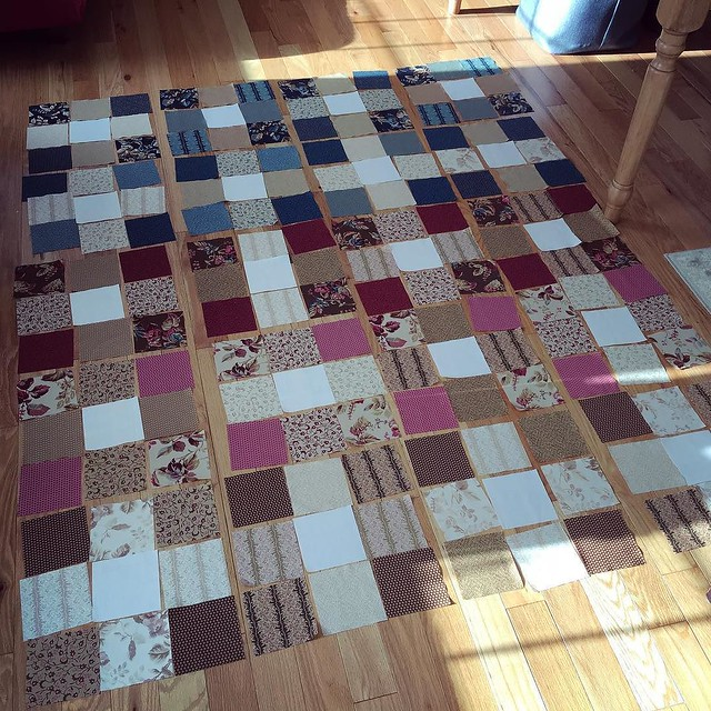 Going to try making a new quilt top with misc charm squares while on vacation this week. I placed all the squares and stopped fiddling with them so the hard part is over.