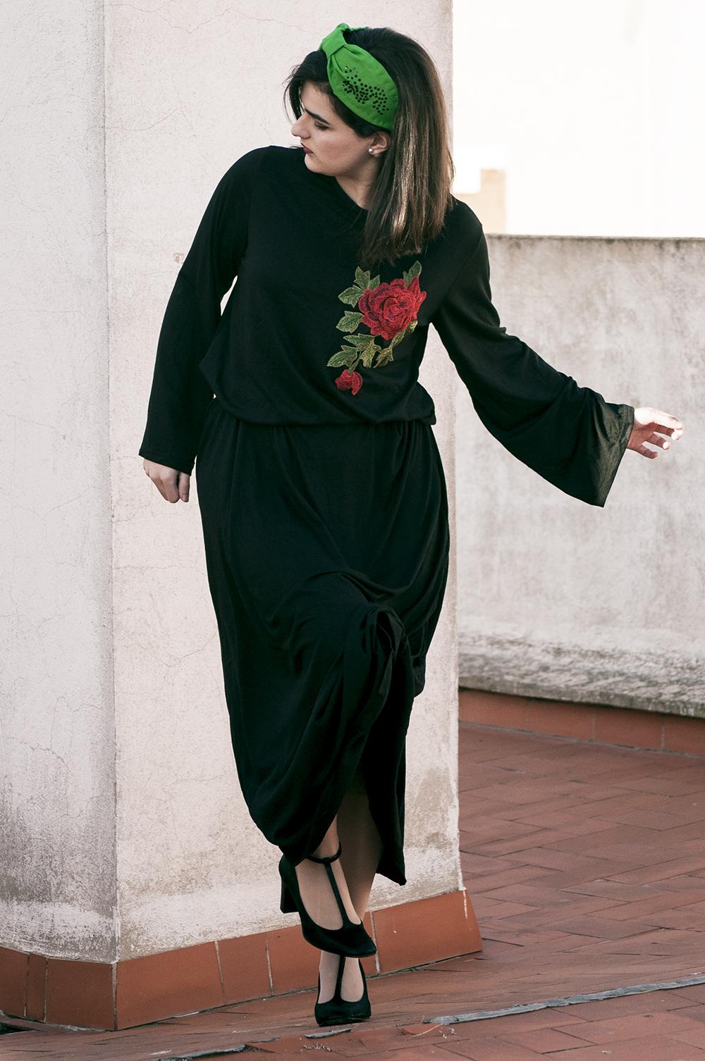 something fashion blogger valencia spain influencer firenze zaful collaboration maxidress black total headband DIY_0265