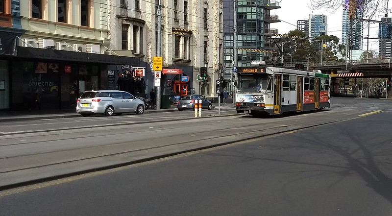 Separated tram track in Spencer Street, Melbourne