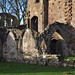 Croxden, Staffordshire, abbey ruins, nave, west wall, detail