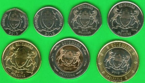 Sada mincí Botswana 5-10-25-50 Thebe + 1-2-5 Pula 2013