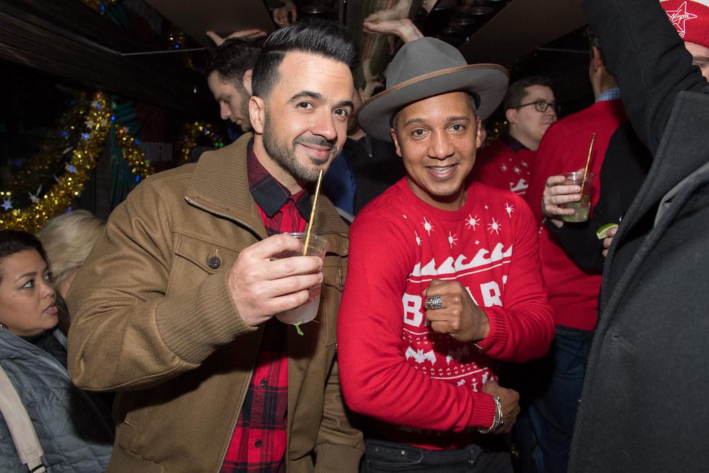 Luis Fonsi with Bacardi brand ambassador Juan Coronado