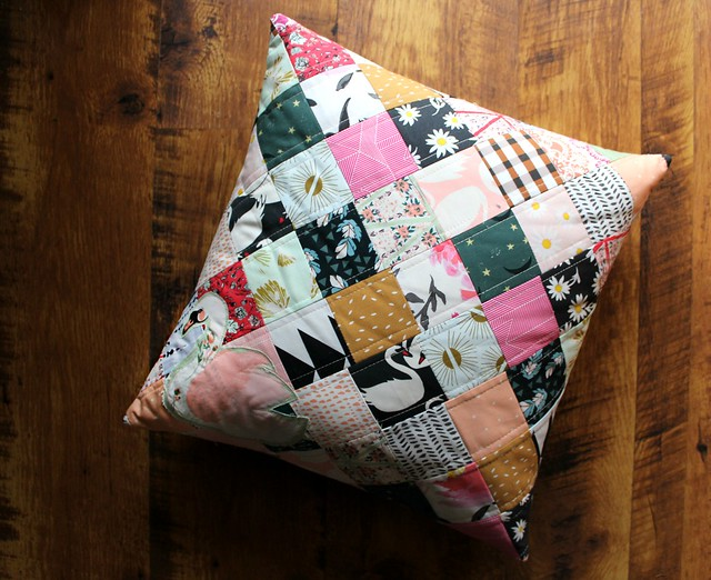 Swan Patchwork Pillow Cover