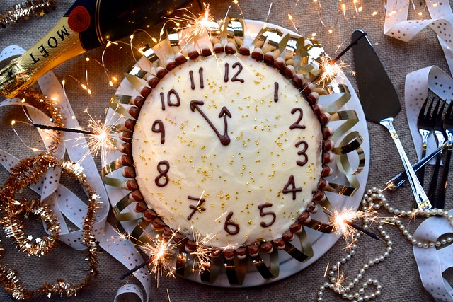 Chocolate, Cherry and Cognac New Years Clock Cake #newyear #newyearseve #cake #baking #party #chocolate #cherry #cognac