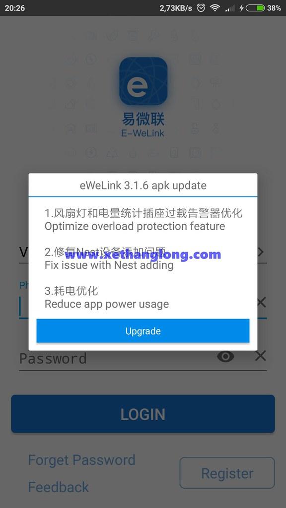 Không nâp cấp eWelink lên phiên bản mới để tránh bị lỗi