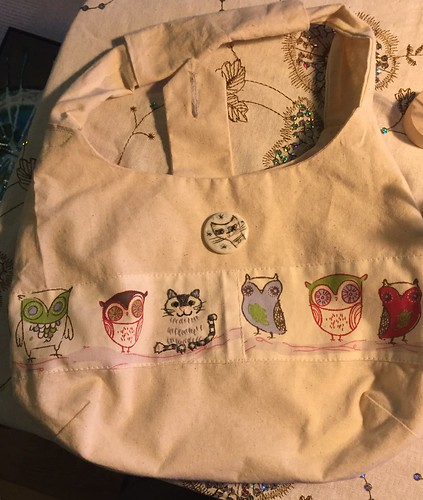 handmade bag purse embroidered cat ceramic button