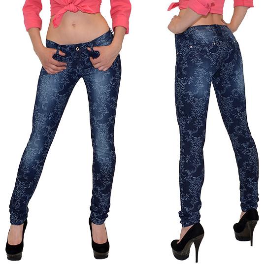 damen jeans skinny mit strass und blumenspitze skinnyjeans. Black Bedroom Furniture Sets. Home Design Ideas