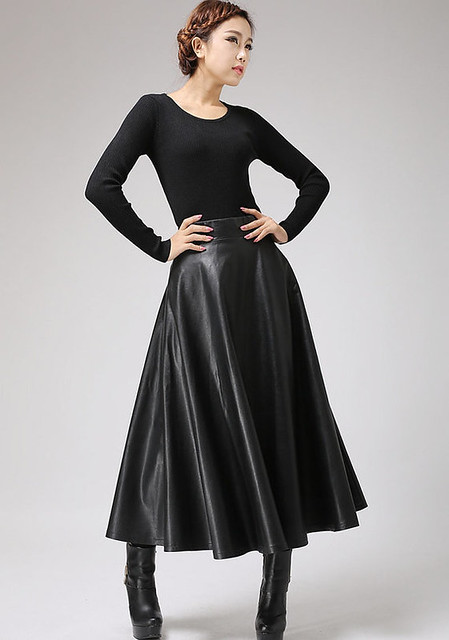 asian woman leather skirt