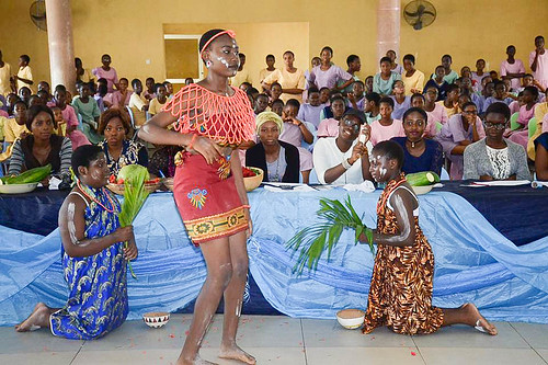 A cultural display given by one of the contestants at the Miss Louisville Abuja competition