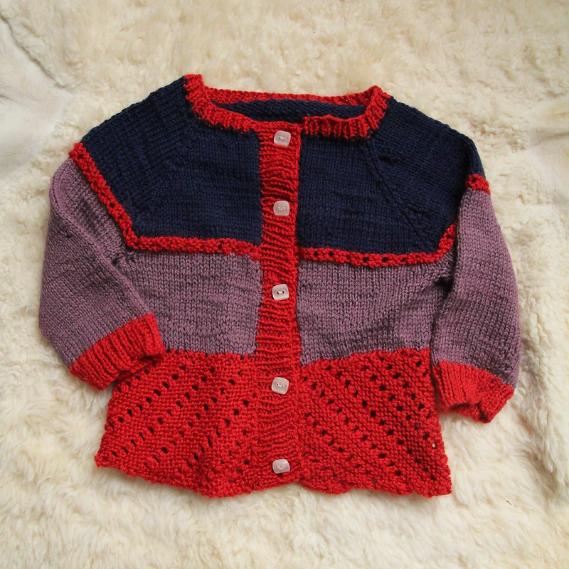 3 colour Elliot baby cardigan