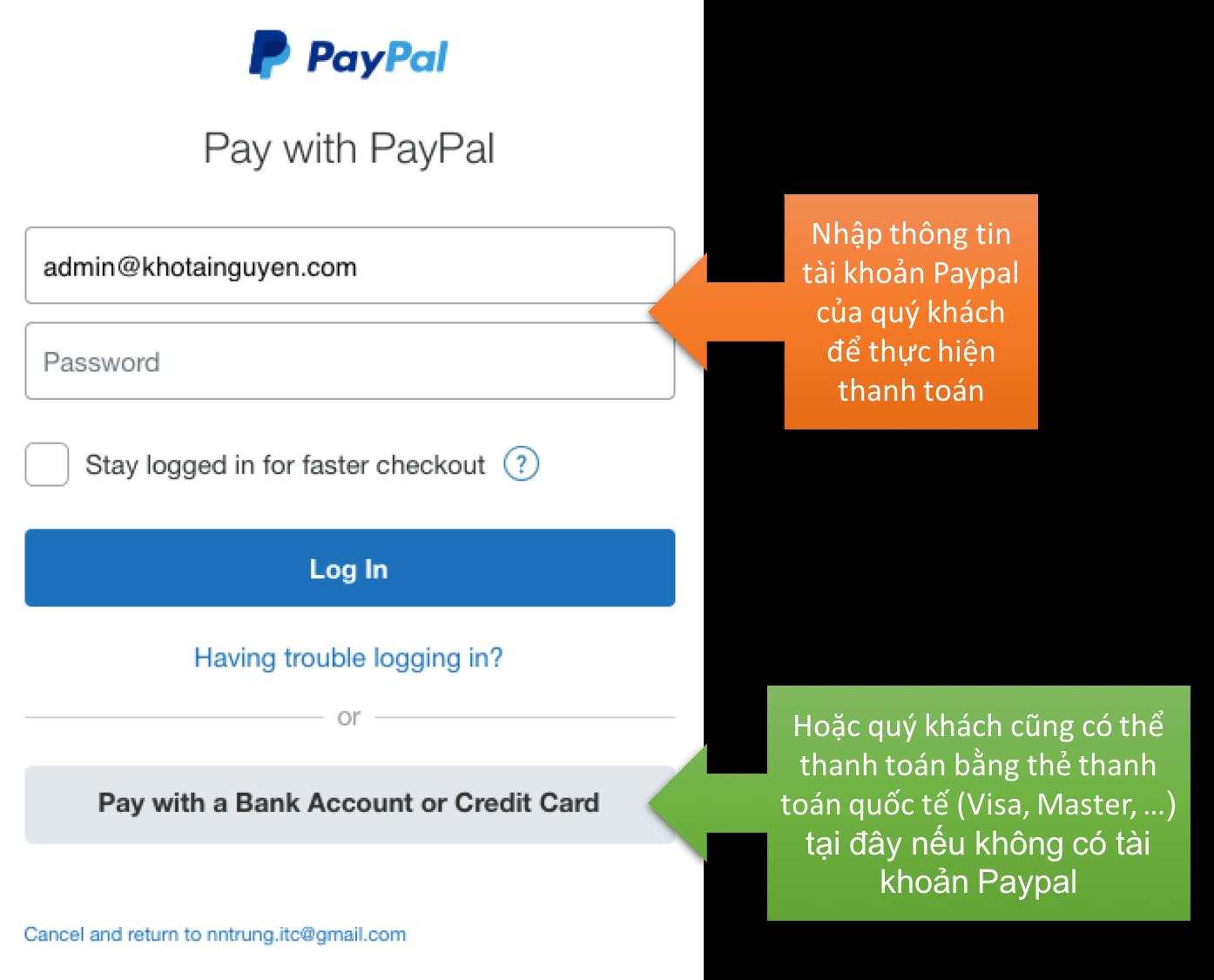 Thanh toán trực tuyến qua Paypal
