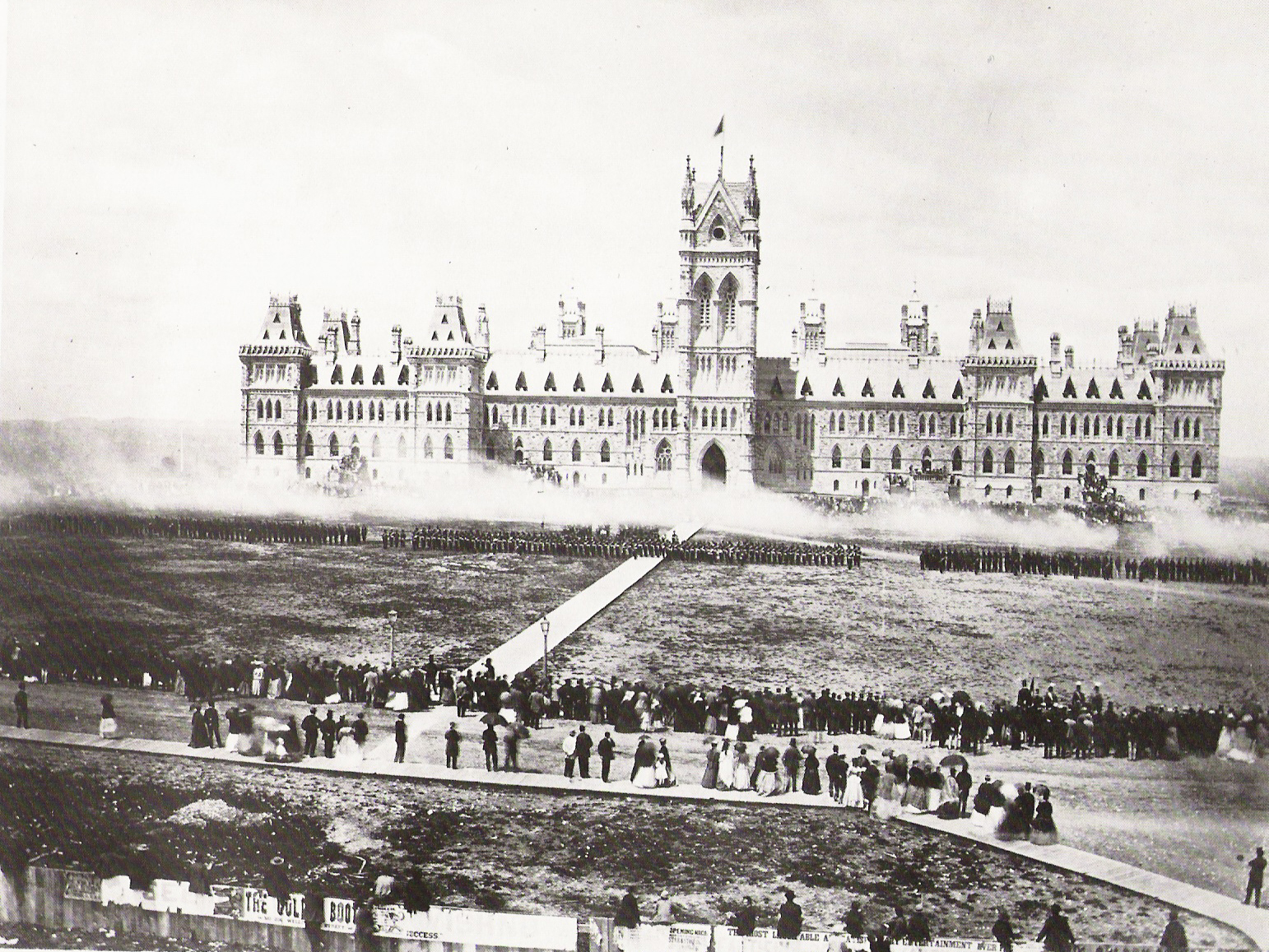 Troops deliver a feu de joie on Parliament Hill for the Queen's Birthday Review on May 24, 1868.