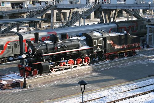 Russian Railways Ea series in Vladivostok.Sta, Vladivostok, Primorsky Krai, Russia /Jan 3, 2018
