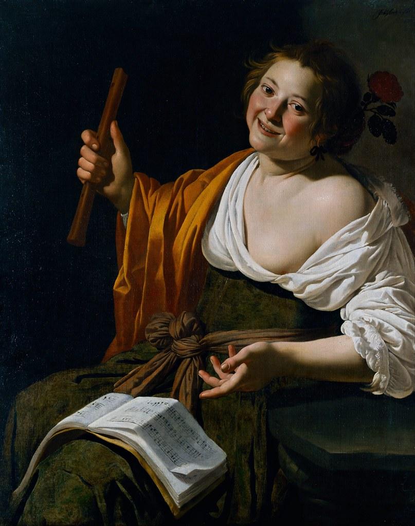 Jan van Bijlert - Girl with a flute (c.1630)