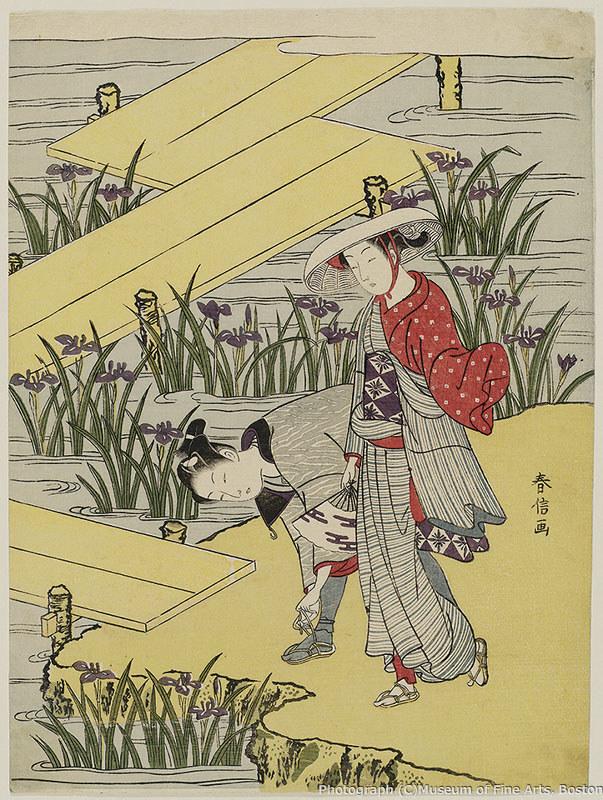 鈴木春信《八つ橋の男女(見立八橋)》(1767年頃) William Sturgis Bigelow Collection, 11.19462