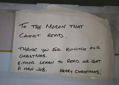 Another satisfied customer as you can tell from this note left for us on a returned TV.