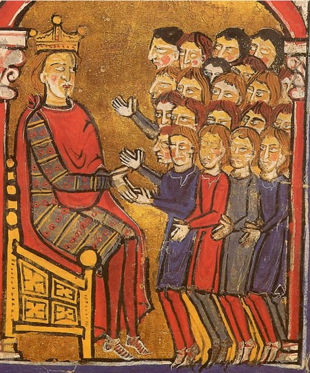 Alfonso the Battler, crowned and sitting on his throne, receives the tribute of the men of Perpignan