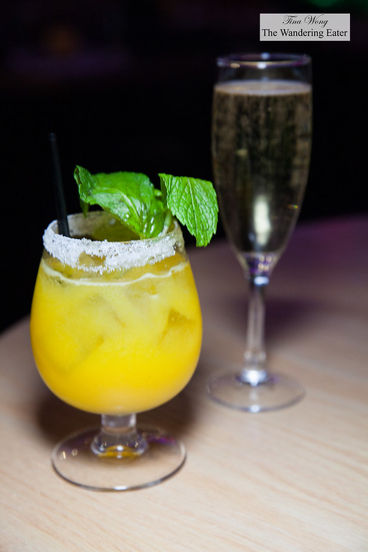 Perrier-Jouët Grand Brut Champagne and Passion fruit caipiroska