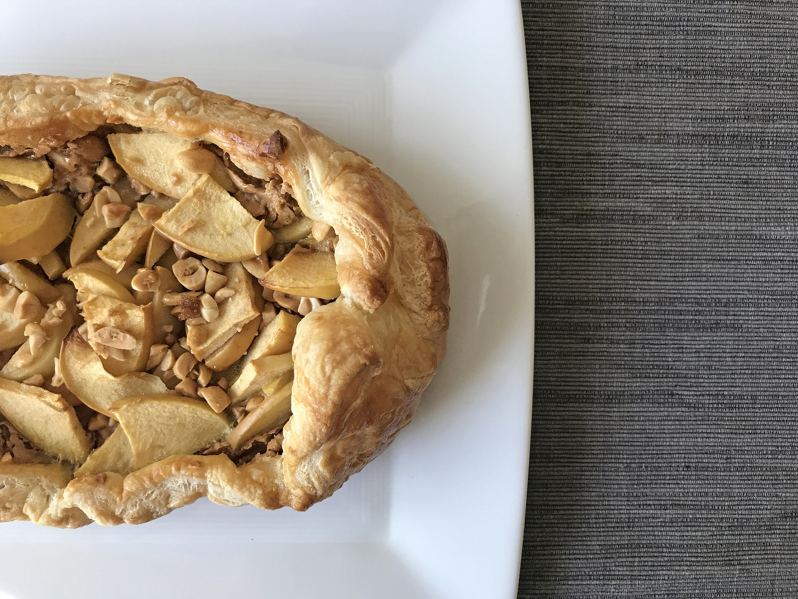 Apple and peanut butter puff pastry tart