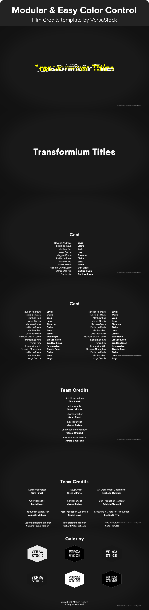 Film Credit template with one column, two column and three column design animated in type transformer style with an optional glitch effect