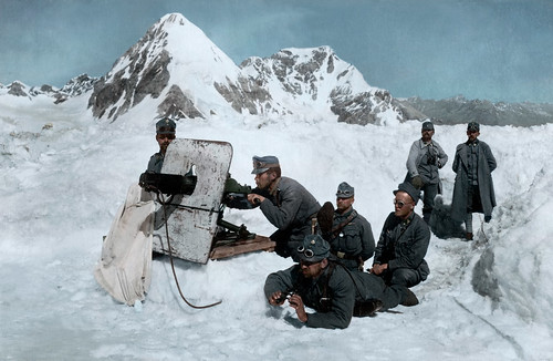 Austrian Schwarzlose machine gun mountain unit between Monte Cevedale and the Gran Zebrù, Northern Italy, c. 1917