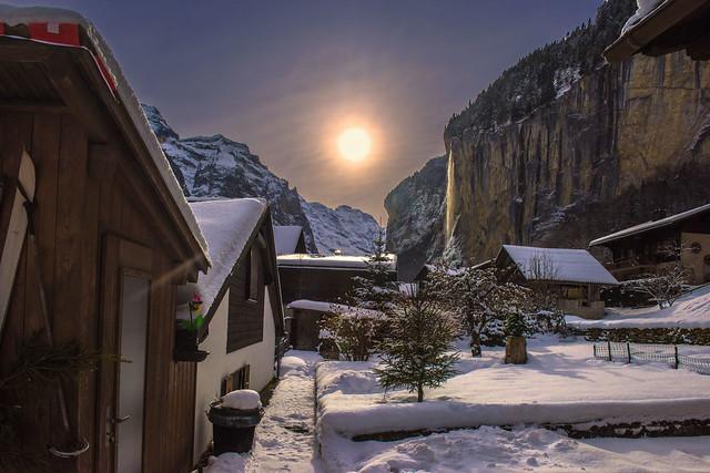 Lauterbrunnen & Staubbach Fall  at winter time. Canton of Bern , Switzerland.29.12.17, 13:38:51 . No, 3919.