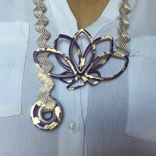 Quilled Paper Lariat Necklace - Purple and Gold Foil