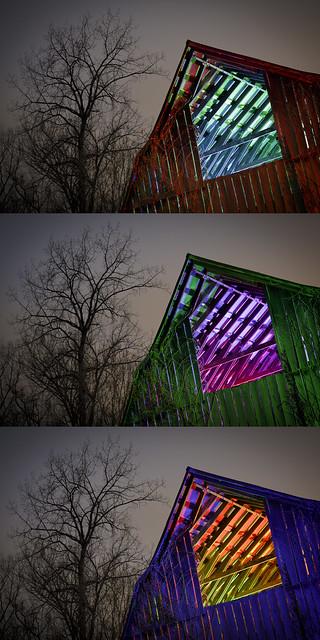 RGB Barn Rafters Triptych