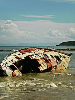 Shipwreck near the shore in Margarita Island (Venezuela).