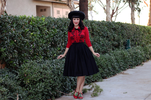 Wheels and Dollbaby Dita Cardigan Vixen by Micheline Pitt Vixen Swing Skirt in Black Irregular Choice Nicely Festive Heels
