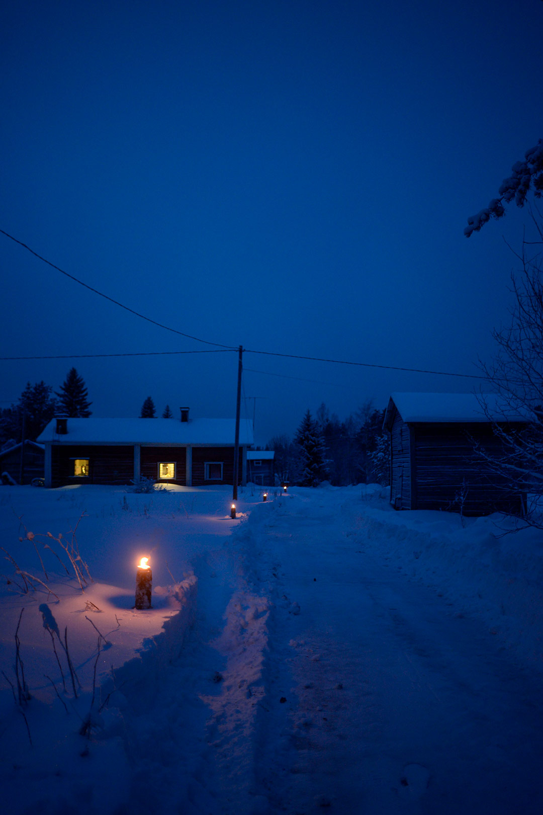 Winter lights on the countryside