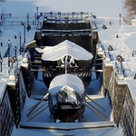Pleasure crafts moored for winter in the Rideau Canal in Ottawa, Ontario