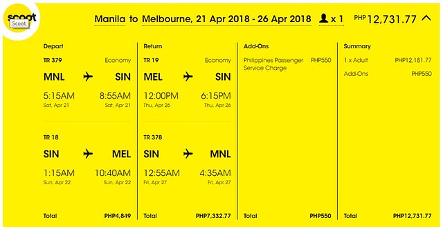 Manila to Melbourne Roundtrip Scoot Promo April 21 to 26, 2018