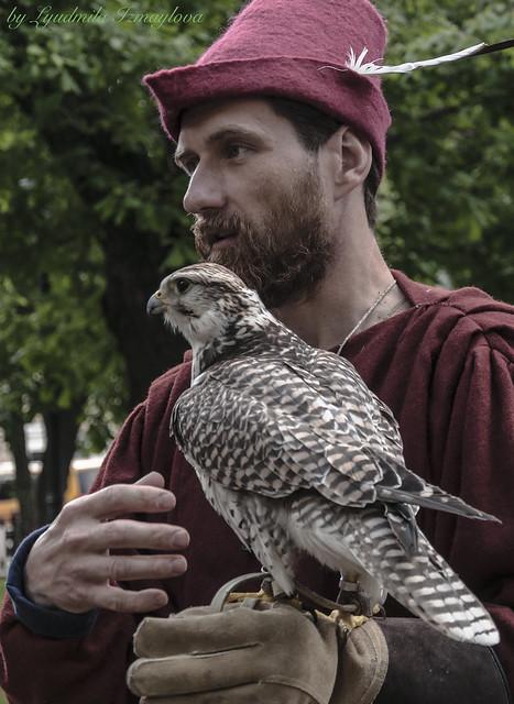 portrait with a falcon