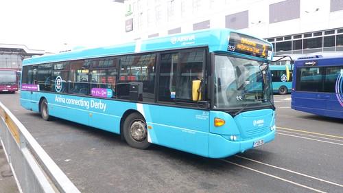 YT09 ZBV 'ARRIVA Midlands' No. 3573, 'light blue livery'. Scania CN230UB OmniCity on 'Dennis Basford's railsroadsrunways.blogspot.co.uk'