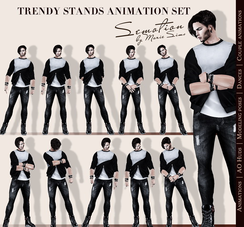 SEmotion Trendy Stands Set - 10 HQ male standing animations - TeleportHub.com Live!