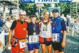 Josef, Gisela, Horst, Karlheinz im Ziel Mergelland Marathon