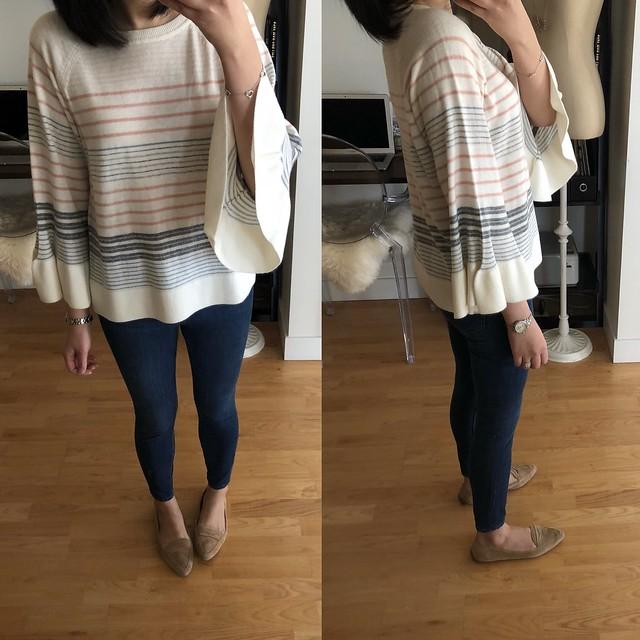 LOFT Mixed Stripe Bell Sleeve Sweater, size XXS regular