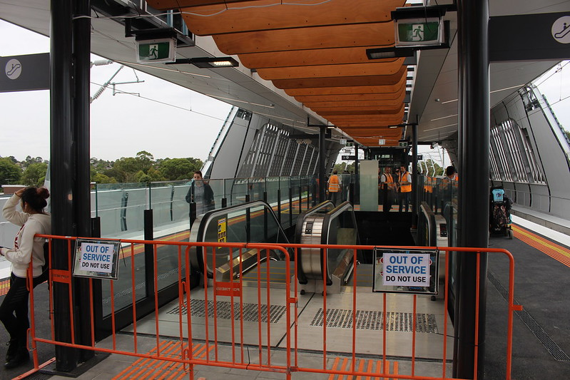 Escalators not working yet at new Noble Park station