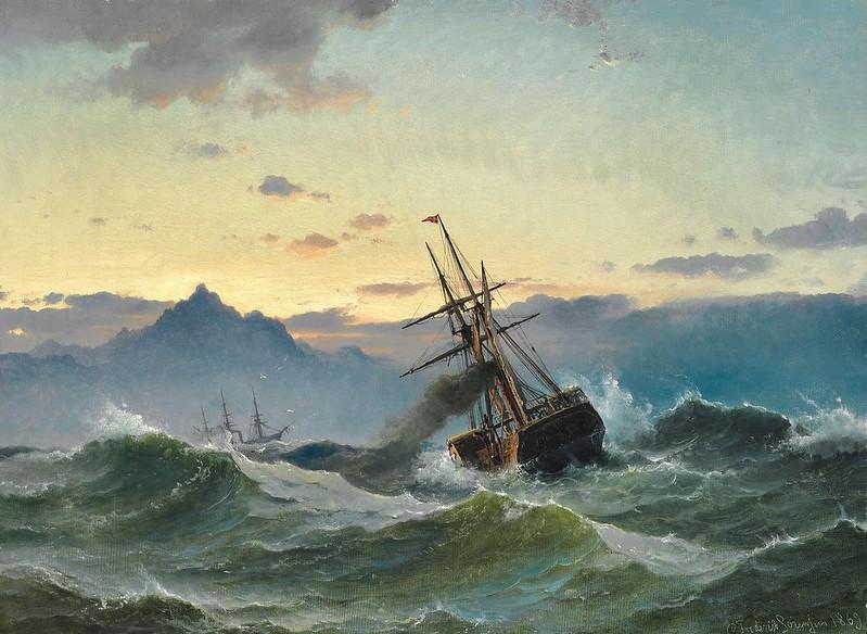 Carl Frederik Sørensen - Marine med to Hjuldampere i høj sø (1869)