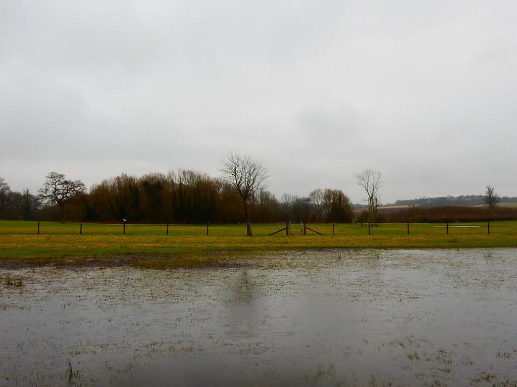 Waterlogged field and fence Thames Path. Henley Circular via Hambleden