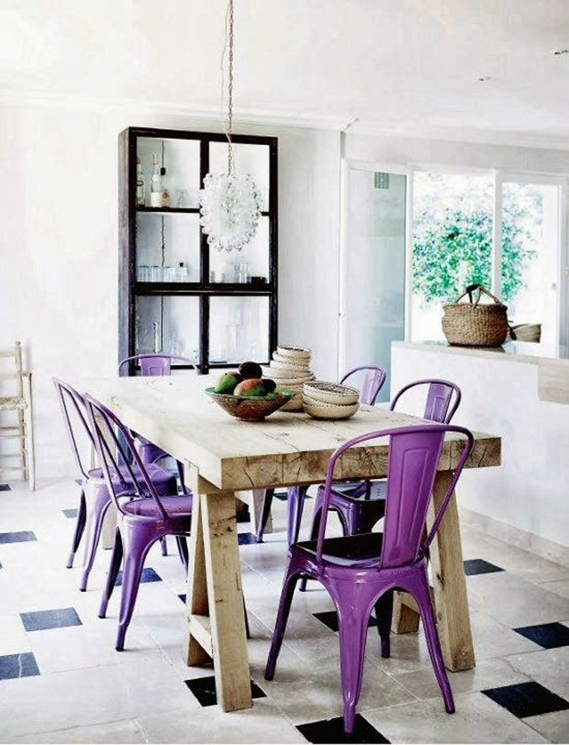ultra violet decor decorating pantone color of the year 2018 purple metal kitchen chairs wooden farm table