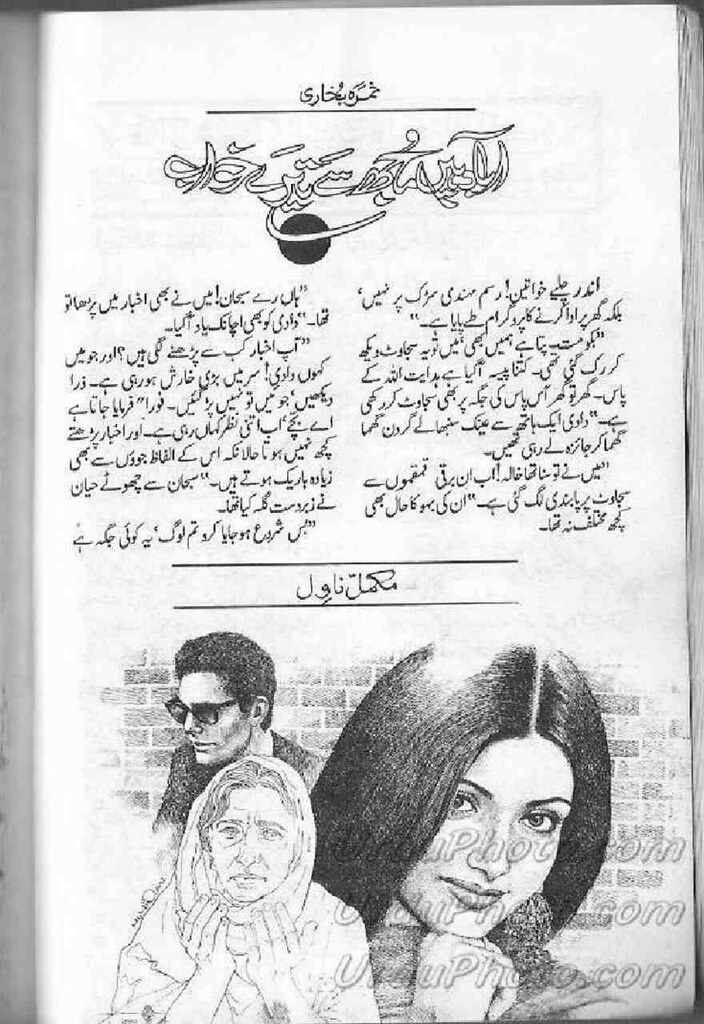 Aabad Hain Mujh Se Tere Khawab is a very well written complex script novel by Samra Bukhari which depicts normal emotions and behaviour of human like love hate greed power and fear , Samra Bukhari is a very famous and popular specialy among female readers