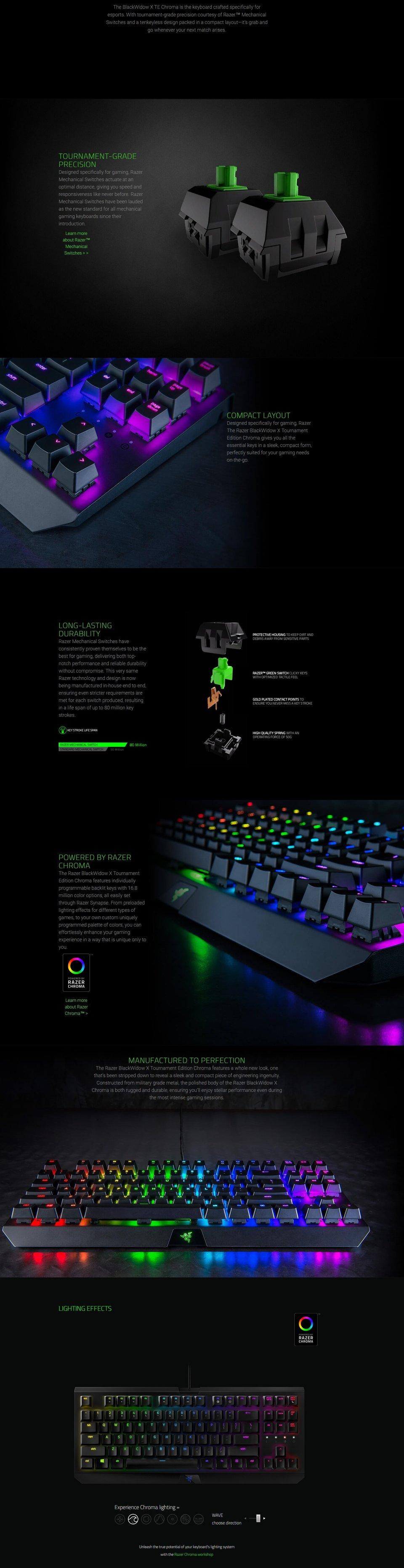 Razer Blackwidow X Tournament Edition Chroma Mechanical Usb Gaming Keyboard Te Product Description