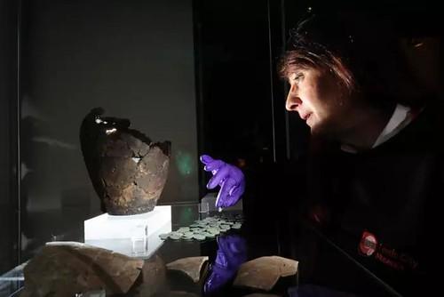 Leeds Roman coin hoard display