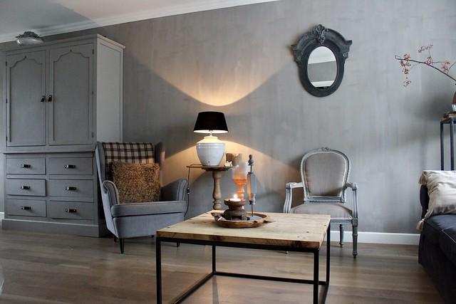 Muren woonkamer kalkverf