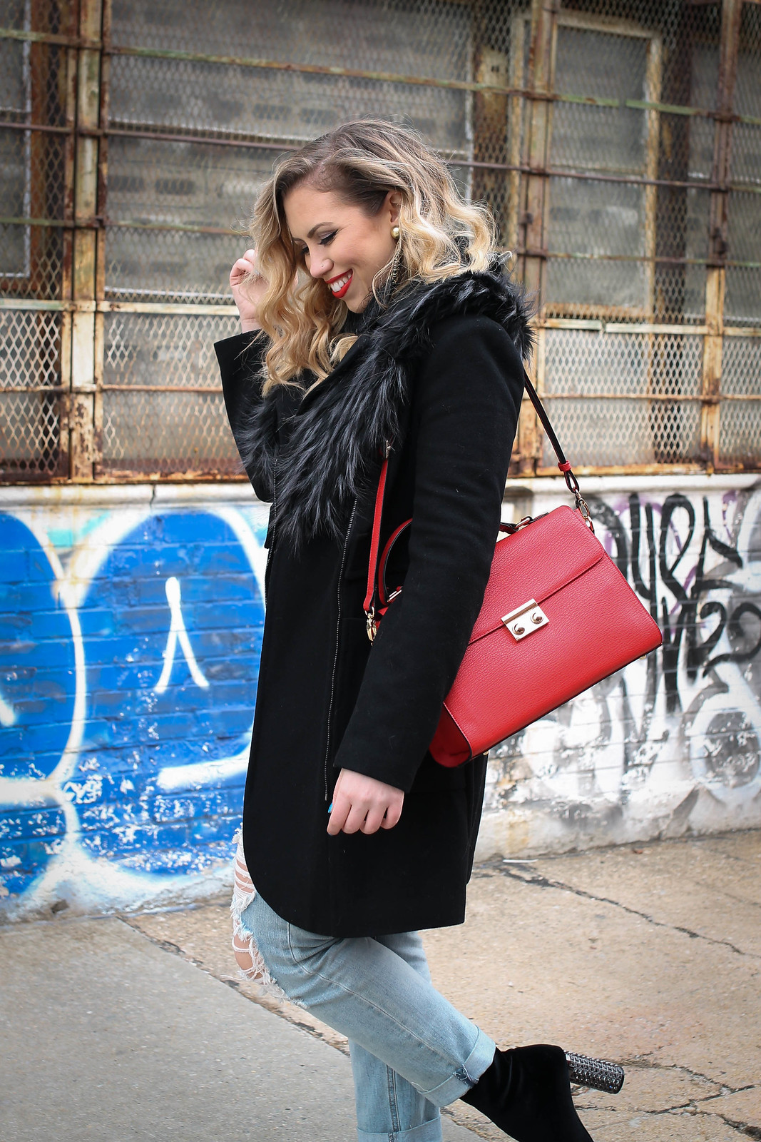 Winter NY Style Black Faux Fur Trim Coat Old Navy Distressed Boyfriend Jeans Red Bag Living After Midnite Jackie Giardina