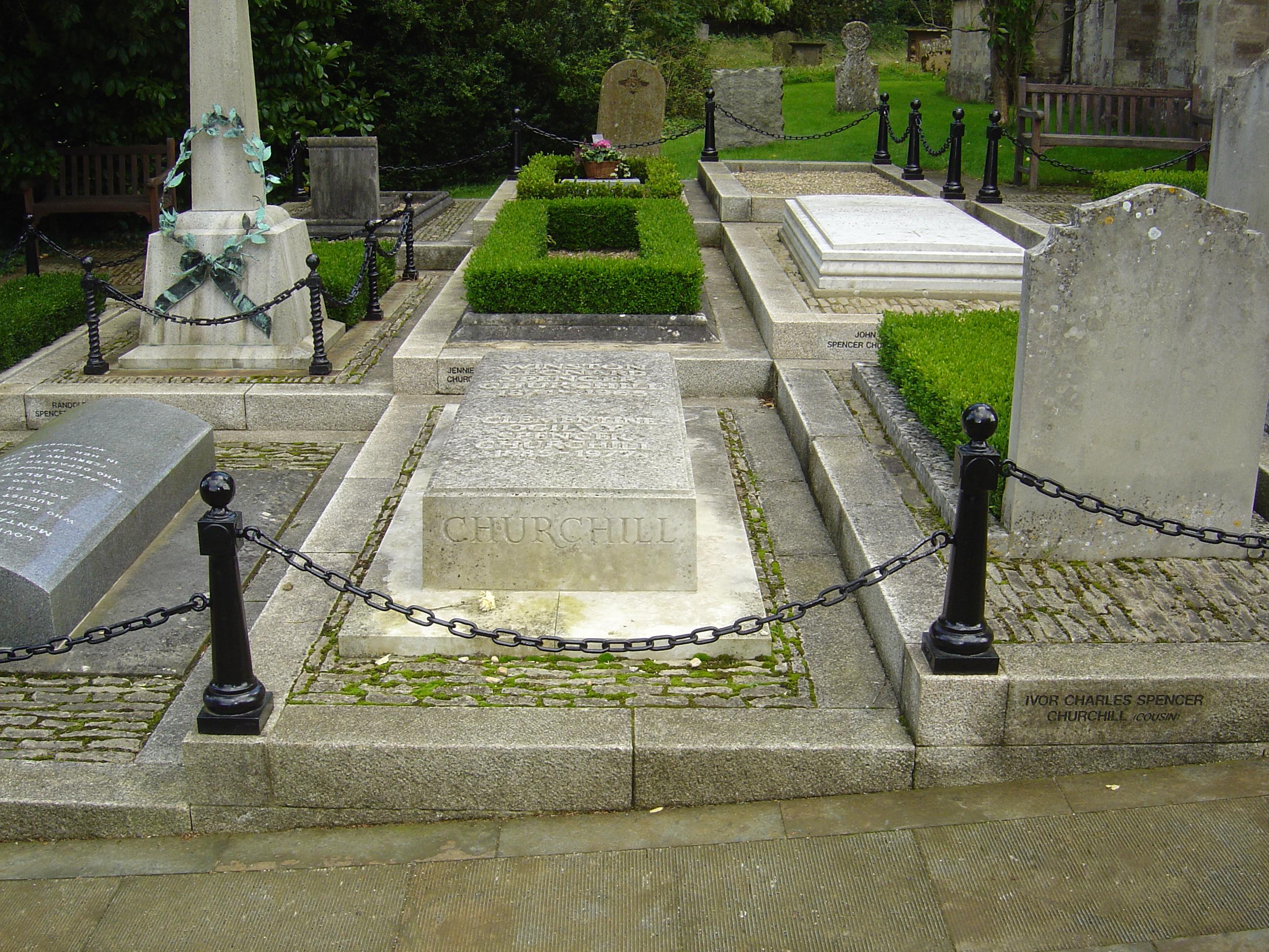 Churchill's grave at St Martin's Church, Bladon. Photo taken on October 1, 2004.