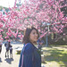 Young woman in public park to enjoy plum blossoms by Apricot Cafe